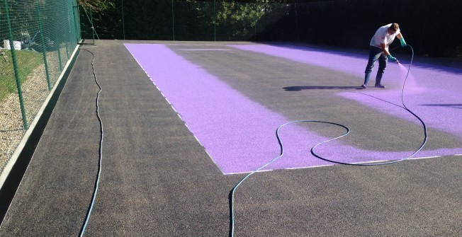 Macadam Court Spraying in Aaron's Hill